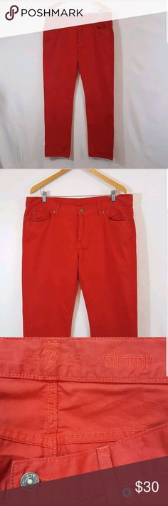 "7 For All Mankind 100% Cotton Slimmy Pants For All Mankind Slimmy Mens Chino Khakis Jeans Burnt Orange color 100% Cotton. Very gently pre-owned.   Waist: 18""  Inseam: 33""  Rise: 11""   Measurements taken with garment lying flat and are approximate: 7 For All Mankind Pants Chinos & Khakis"