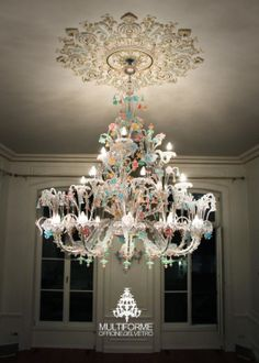 #Rezzionico #chandelier crystal with coloured details