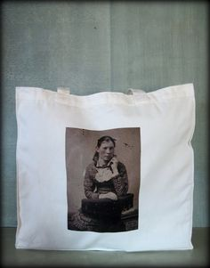 Tintype Tote  Freckled Teen Girl by ScarlettSlipper on Etsy