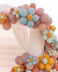 Pastel Balloons, Balloon Flowers, Balloon Arch, Balloon Garland, Balloon Bouquet, Girl First Birthday, First Birthday Parties, Birthday Celebration, First Birthdays