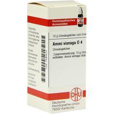 AMMI VISNAGA D 4 Globuli:   Packungsinhalt: 10 g Globuli PZN: 07594474 Hersteller: DHU-Arzneimittel GmbH & Co. KG Preis: 5,50 EUR inkl.…