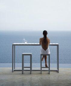 Minimalist design. Table and stools