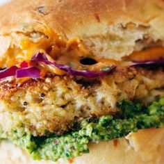 Recipe for Spicy Cauliflower Burgers with avocado sauce, cilantro lime slaw, and chipotle mayo! Meatless, filling, and delicious!