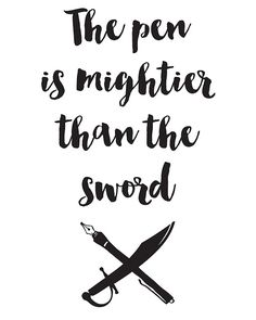 The pen is mightier than the sword Quote -  The pen is mightier than the sword. A beautiful quote to bright up your day, packaged in a modern and professional design for multiple uses. Print it and hang it on your wall to remind yourself daily, or gift it to loved ones. This eye-catching design will make anybody pause for a second and reflect.  art collectibles digital prints digital art print printable wall art typography art print quote art print quote poster print can