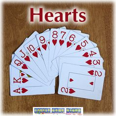 The card game Hearts is a fun game of stategy that kids 8 and up will enjoy. Trade and play cards to win tricks. The goal is to not win any hearts. Family Card Games, Fun Card Games, Card Games For Kids, Hearts Card Game Rules, 31 Card Game, Indoor Games For Kids, Dice Games, Old Games, Just For Fun