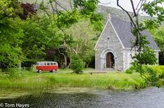 VW Camper van for the bride and groom-  Gougane Barra, Ireland