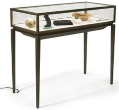 **NEW ITEM** Brushed Steel Jewelry Display Case w/ Rear Slide Open Drawer, LED Lights - Bronze