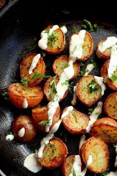 Super easy crispy fried potatoes with a zesty creamy vegan ranch dressing!