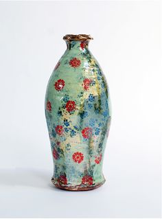 Chris Taylor. Green Vase. Terracotta with slip, underglaze print and lustre, 2012.