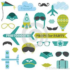 Airplane Party set - photobooth props by Woodhouse84, via Dreamstime