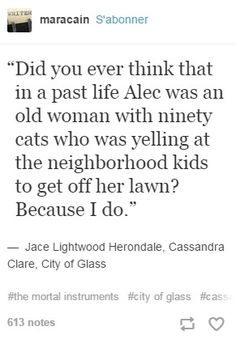 City of Glass quote City of Glass quote Mortal Instruments Funny, Shadowhunters The Mortal Instruments, Book Memes, Book Quotes, Alec And Jace, Serie Got, Jace Lightwood, Shadowhunters Series, City Of Glass