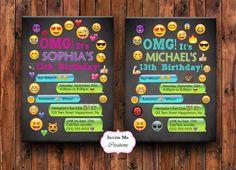 Emoji Birthday Invitation, Emoji Invite, Girl, Personalized, Smiley Face, Emoticons, Iphone, Text, Boy, Teen, Emoji Theme Birthday Party by InviteMeCreations on Etsy https://www.etsy.com/listing/456494048/emoji-birthday-invitation-emoji-invite