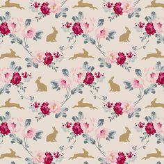 Tilda Memory Lane Fabric Rabbit and Roses Slate - Tilda Crafts