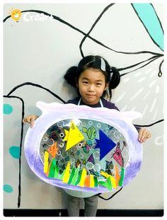 나만의 어항 [밤비니 5세 수업 / 시흥시 정왕동 배곧 미술학원 - 창의미술 크리아트] : 네이버 블로그 Fall Art Projects, School Art Projects, Cool Paper Crafts, Fun Crafts, Animal Crafts For Kids, Art For Kids, Kindergarten Art Projects, Ecole Art, Art N Craft