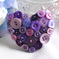Heart brooch - Felt and buttons - 'Purple Patch' - lavender, lilac - FREE UK P&P £7.95