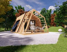 mobile home vacation house tiny house Pagus 3 bedr on Behance Modern Pool House, Modern Pools, Buy A Tiny House, Tiny House Plans, Glamping, Modern Mobile Homes, Eco Cabin, Bamboo House Design, Tiny Cabins