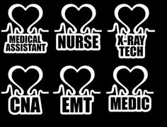 Made to order car decals for those in the medical field! Choose the decal you want made. Nurse Decals, Car Decals, Vinyl Decals, Window Decals, Silhouette Cameo Projects, Silhouette Design, Medical Assistant, Cricut Vinyl, Vinyl Projects