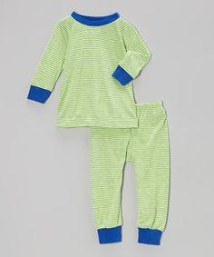 Look at this #zulilyfind! Blue & Gray Stripe Lion Pajama ...