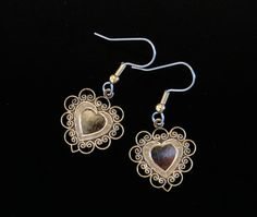 Heart Earrings Lacy Valentine 24 Karat Gold Plate or Silver Plate Lightly Antiqued to enhance the details EG278 / ES247 by NostalgicCharm on Etsy