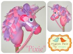 """Pixie"" Hobby Horse Unicorn handmade by Pigeon Pair Designs, pink and purple fabric. https://www.facebook.com/PigeonPairDesigns"