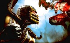 Preview wallpaper mortal kombat, god of war, fist, fighter, sword, bald, scream