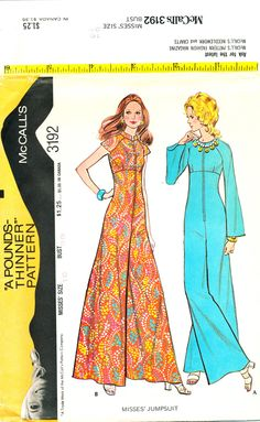 McCall's 3192, Jumpsuit, UNCUT FF, 1970s fashion, Misses' size 16, Bust 38, ©1972 by MySewingChest on Etsy