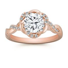Infinity Rose Gold Ring with Diamond Twist Halo