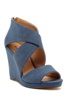 Blue  Gabina Strappy Wedge Sandal