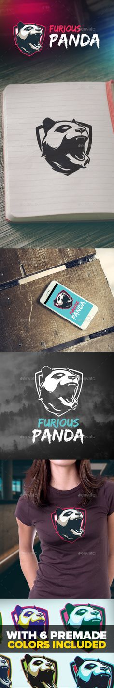 Furious Panda  Logo Design Template Vector #logotype Download it here: http://graphicriver.net/item/furious-panda-logo/15431468?s_rank=906?ref=nexion