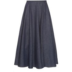 Emilia Wickstead Eleanor denim midi skirt ($1,184) ❤ liked on Polyvore featuring…