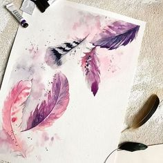 New Ideas Painting Watercolor Feather Watercolor Art Diy, Watercolor Feather, Watercolor Art Paintings, Feather Painting, Happy Paintings, Watercolor Illustration, Painting & Drawing, Watercolour Tutorials, Watercolor Pencils