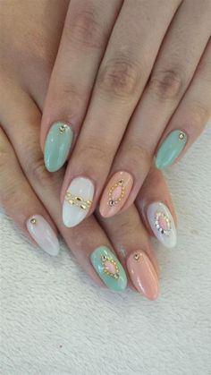 #long #nails #blue #pink #white