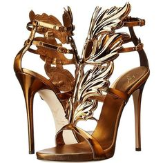 Giuseppe Zanotti High-Heel Winged Sandal (Bronze) Women's Shoes ($1,595) ❤ liked on Polyvore featuring shoes, sandals, platform sandals, metallic platform sandals, winged sandals, open toe high heel sandals and giuseppe zanotti sandals