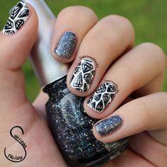 Diamond Nail art featuring Some Like It Haute by China Glaze.  For more details visit sabrinasnails.blogspot.com :) #nails #nailart #diamondnails #sparkly #sabrinasnails #blackandwhitenails #nailblogger #chinaglaze