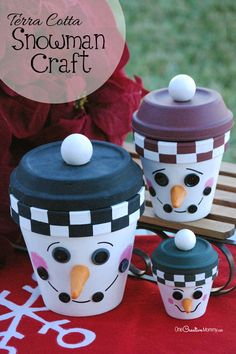 Snow or no snow, bring a little Winter cheer to your home this Christmas with an adorable DIY Snowman Family! {OneCreativeMommy.com} #ChristmasDecor #SnowmanCraft #terracotta..,