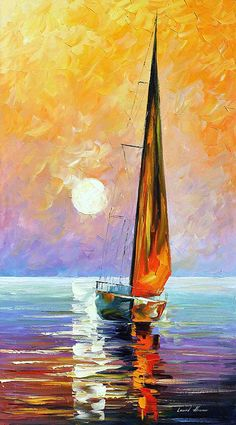 Gold Sailboat Palette Knife Oil Painting On Canvas Leonid Afremov Oil Painting Flowers, Oil Painting Abstract, Painting Canvas, Canvas Canvas, Art Oil Paintings, Leonid Afremov Paintings, Underwater Painting, Landscape Paintings On Canvas, Body Painting