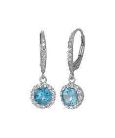 Look at this #zulilyfind! Swiss Blue Topaz & Cubic Zirconia Drop Earrings #zulilyfinds