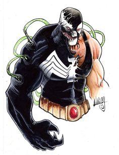 ORIGINAL ART! Bane/Venom mashup, Copic Markers, 9x12