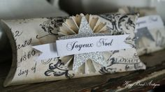 Christmas Pillow Box Gift Card Holder Favor Vintage French Script Paper Rosette by HoggBarnAntiques