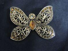 Vintage Rhinestone Gold Brooch Citrine Amber Stones Butterfly