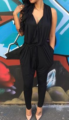 Black Plain Draped Tunic Harem V-neck Elastic Waist Fashion Long Jumpsuit