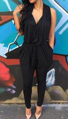 Black Plain Draped Tunic Harem V-neck Elastic Waist Fashion Long Jumpsuit - Jumpsuit Pants - Bottoms