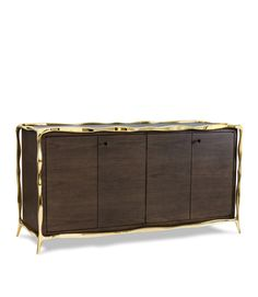 Paul Mathieu console dresser / cabinet veneered doors with brass frame.