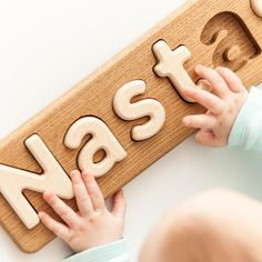 Christmas gift Wooden child name puzzle baptism gift girl | Etsy Jigsaw Puzzles For Kids, Puzzles For Toddlers, Wooden Puzzles, Diy For Kids, Gifts For Kids, Wooden Piggy Bank, Puzzle Store, Name Puzzle, Puzzle Logo