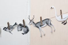 snipped & clipped, garland, woodland creatures, pegs, illustration