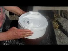 Using a salad spinner to extract top bar honey.