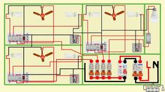 complete electrical house wiring diagram Electrical Panel Wiring, Electrical Circuit Diagram, Electrical Layout, Electrical Plan, Electrical Installation, Electrical Outlets, Electrical Engineering Books, Engineering Notes, Electrical Projects