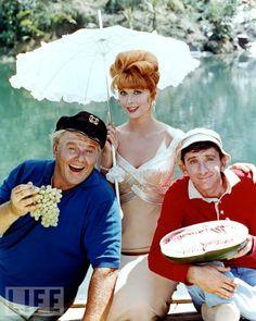 Alan Hale Jr. as the skipper , Tina Louise as Ginger , & Bob Denver as Gilligan in   Gilligan's Island (TV Series 1964;1967)