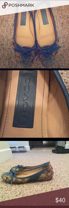 Good Condition Jasmine detailed Coach flats Beautiful Coach Signature Flats worn no more than 5 times but because the front is suede, they are a little scuffed up. If you look inside the shoe you wont even see a mark & the lack of dirt/damage on the OUTER soles is a testament to just how rarely I have worn these designer flats. Coach Shoes Flats & Loafers