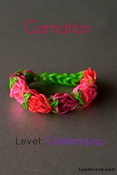 January 23, 2014  carnation bracelet  January 24, 2014  A requested carnation in pink, yellow, purple.  It was a bit messed up so....January 25, 2014 - I tried again!  Success!